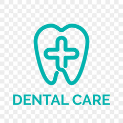 Tooth logo icon for dentist or stomatology dental care design template. Vector isolated green line cross and tooth symbol for dentistry clinic or dentist medical center and toothpaste package