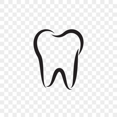 Tooth logo icon for dentist or stomatology dental care design template. Vector isolated black outline line tooth symbol for dentistry clinic or dentist medical center and toothpaste package