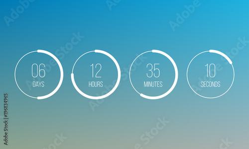 Vector Countdown Clock Counter Timer UI App Digital Count Down