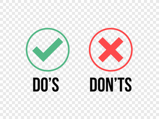 Do and Dont check tick mark and red cross icons isolated on transparent background. Vector Do's and Don'ts checklist or choice option symbols in circle frame