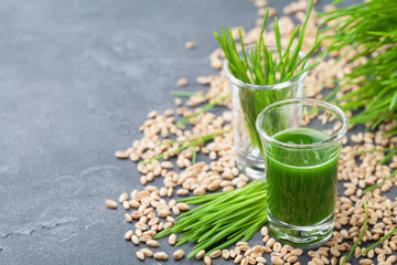 Green organic wheat grass juice. Morning drink. Superfood concept.