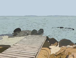 Wonderful sea view. Pier sketch. Wooden port , sea ,Island ,scene, Landscape .