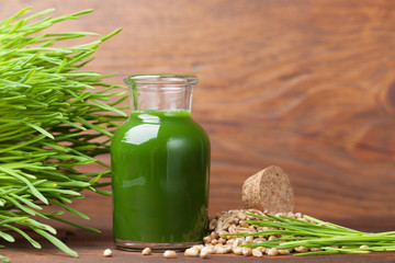 Healthy wheat grass juice. Morning superfood and detox concept.