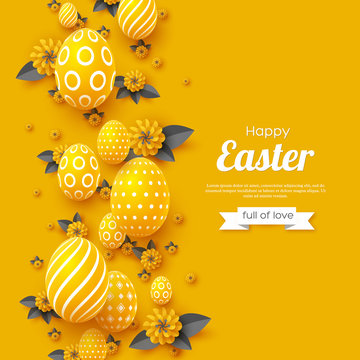 Easter holiday greeting card. Paper cut flowers yellow and grey colors with 3d eggs, holiday background. Vector illustration.