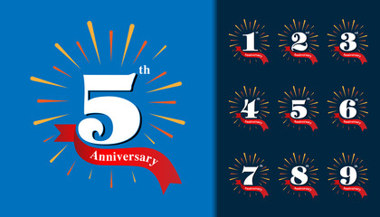 Set of anniversary logotype. Fireworks anniversary design template for booklet, leaflet, magazine, brochure poster, web, invitation or greeting card.
