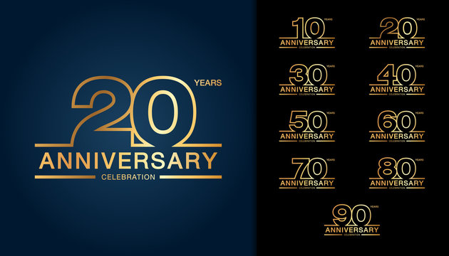 Set of anniversary logotype. Golden anniversary celebration emblem design for booklet, leaflet, magazine, brochure poster, web, invitation or greeting card.