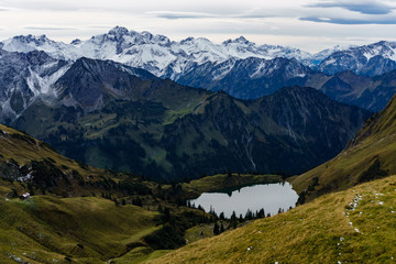 Lake Seealpsee in the mountain landscape of the Allgau Alps