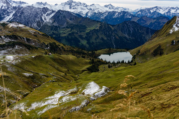 Lake Seealpsee in the mountain landscape of the Allgau Alps Oberstdorf Germany