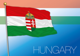 Hungary official flag isolated on the blue background, Europe