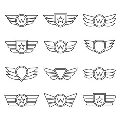 Wings line icon set. Winged logo and emblem collection. Company, army or aviation wing badges. Vector illustration.