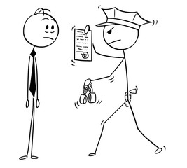 Cartoon stick man drawing conceptual illustration of businessman arrested by policeman. Business concept of crime and punishment.
