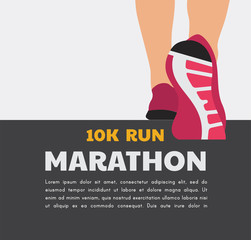 athlete runner feet running or walking on road . running poster template. closeup illustration vector
