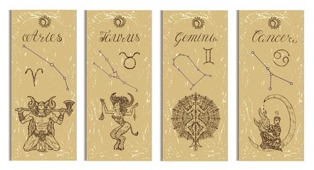 Set with Aries, Bull, Gemini and Cancer Zodiac symbols banners on texture. Hand drawn graphic illustration. Template background, suitable for print, card, poster, bookmark