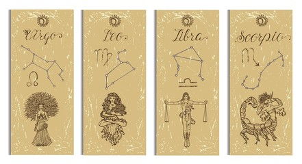 Set with Leo, Virgo, Libra and Scorpio Zodiac symbols banners on texture. Hand drawn vector illustration. Template background, suitable for print, card, poster, bookmark