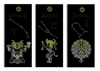 Set with Aries, Bull, Gemini Zodiac symbols banners on black. Hand drawn graphic vector illustration. Template background, suitable for print, card, poster, bookmark