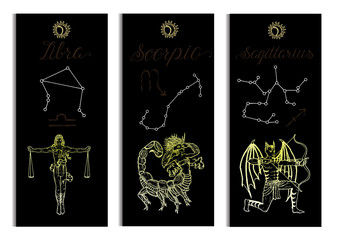 Set with Scales, Scorpio and Archer Zodiac symbols banners on black. Hand drawn vector illustration. Template background, suitable for print, card, poster, bookmark