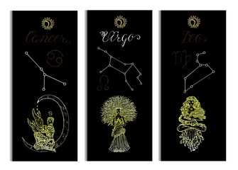 Set with Cancer, Leo and Virgo Zodiac symbols banners on black. Hand drawn vector illustration. Template background, suitable for print, card, poster, bookmark