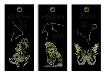 Set with Capricorn, Aquarius and Pisces Zodiac symbols banners on black. Hand drawn vector illustration. Template background, suitable for print, card, poster, bookmark