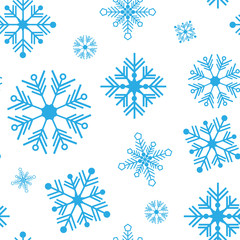 Seamless vector pattern with detailed snowflakes