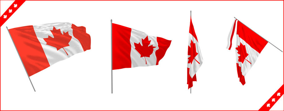 Set of Canada state waving solemn flags . Vector illustration.