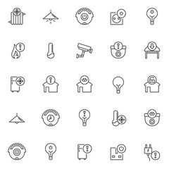 Automation outline icons set. linear style symbols collection, line signs pack. vector graphics. Set includes icons as radiator cold, lamp light on , cleaner off, light bulb on, socket, fire danger