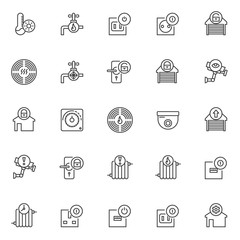 Automation elements outline icons set. linear style symbols collection, line signs pack. vector graphics. Set includes icons as temperature hot, water tap, socket off, garage unlocked, alarm smoke