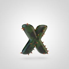 Plant letter X lowercase with spikes isolated on white background.
