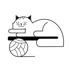 sleeping cat, pet sleep. vector cartoon illustration