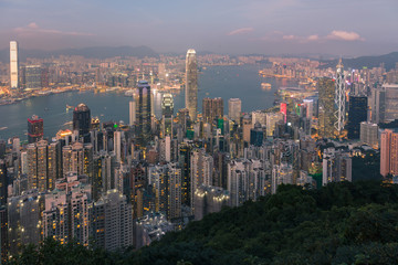 Hong Kong crowd business downtown aerial view over Victoria Bay view fron the Peak