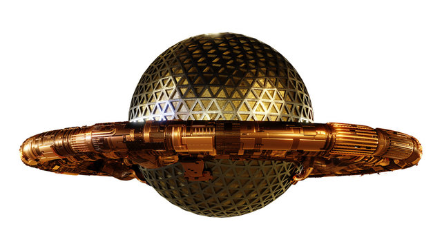 UFO, alien spaceship isolated on white background, flying saucer with steampunk design (3d rendering)