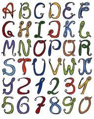 Colorful watercolor aquarelle font type handwritten hand draw paint abc alphabet letters.