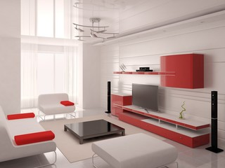 Hi-tech living room with original layout and bright background.