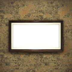 Wooden frame on color wallpaper background. 3D rendering