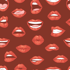 Lip kiss vector cartoon smile and beautiful red lips or fashion lipstick and sexy mouth kissing lovely on valentines day set illustration isolated seamless pattern background