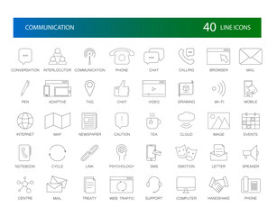 Line icons set. Communication pack. Vector Illustration