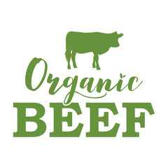 Organic farm label with cow silhouette, vector