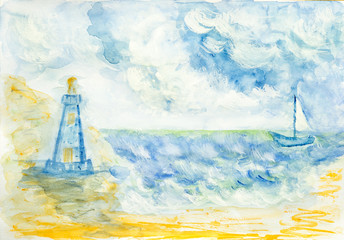 Yacht on the sea and the lighthouse, watercolor illustration