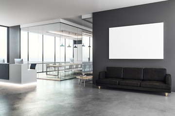 Concrete reception with blank poster