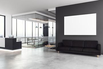Modern reception with empty billboard
