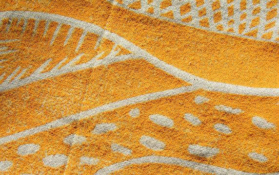 Lino print artwork on fabric
