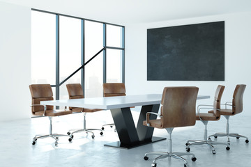 Contemporary conference room with billboard