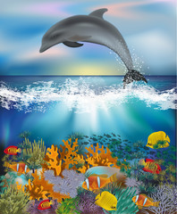 Underwater background with Dolphin and Tropical fish, vector illustration
