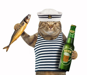 The cat sailor holds a bottle of beer and a big smoked mackerel. White background.