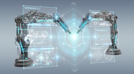 Robotics arms with digital screen 3D rendering