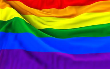 Rainbow gay pride flag, three dimensional render, satin texture