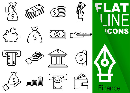 Editable stroke 70x70 pixel. Simple Set of finance vector flat line Icons - purse, banknote, coin, hand, treasury, payment, payment card, bank, slot machine, wallet, money
