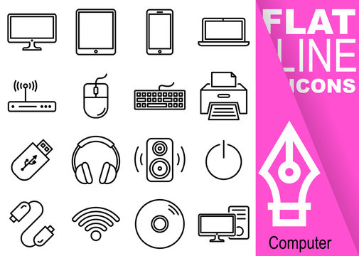 Editable stroke. Simple Set of computer vector flat line Icons - monitor, tablet, smartphone, notebook, router, mouse, keyboard, printer, flash drive, headphone, speaker, cable, wifi, disk, computer