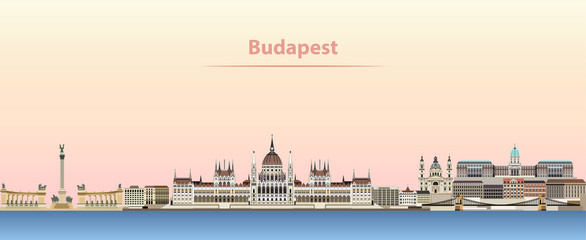 Budapest vector city skyline at sunrise