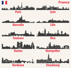 Fototapete - vector city skylines silhouettes of France