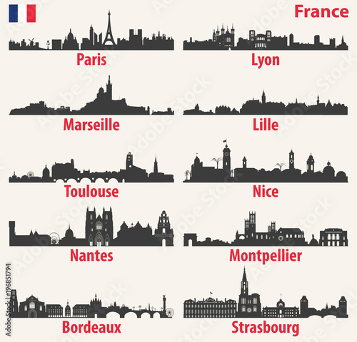 Fototapete vector city skylines silhouettes of France